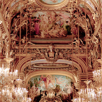 Paris Photography - Chandeliers at the Opera Garnier, Ornate, Architectural  Photograph, French Wall Decor
