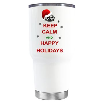 TREK Keep Calm and Happy Holidays on White 30 oz Tumbler Cup