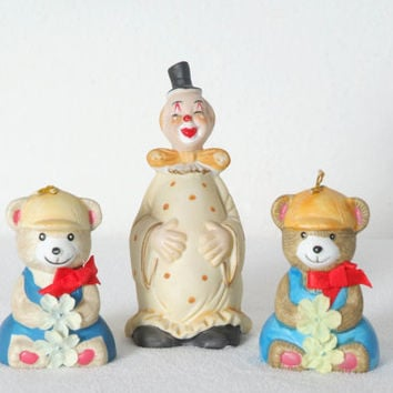 Vintage Giftco Teddy Bear Bells with Silly Clown Bell Collectible Porcelain