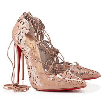 Cheap Christian Louboutin Impera Lasercut Patent Leather And PVC Pointed Toe Pumps Nude Sale