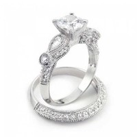 Bling Jewelry 925 Silver Vintage Round Teardrop Wedding Engagement Ring Set:Amazon:Jewelry
