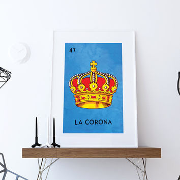 Loteria La Corona Mexican Retro Illustration Art Print Vintage Giclee on Cotton Canvas and Paper Canvas Poster Wall Decor