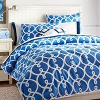 Totally Trellis Comforter + Sham, Palace Blue