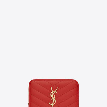 Saint Laurent Monogram Compact Zip Around Wallet In Red Grain De Poudre Textured Matelassé Leather | YSL.com