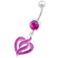 Signature Design Heart Dangle Fuchsia Crystal Belly Button Ring For Girls [Gauge: 14G - 1.6mm / Length: 10mm] 316L Surgical Steel & Crystal