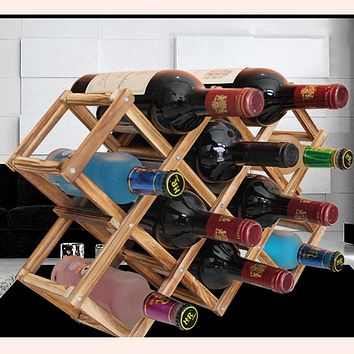 2017 High Quality New Solid Wood Folding Wine Racks Foldable Wine Stand Wooden Wine Holder 10 Bottles Kitchen Bar Display Shelf