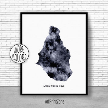 Montserrat Print, Office Art Print, Watercolor Map Montserrat Map Print, Map Art Map Artwork Office Decorations, Country Map, Art Print Zone