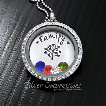 Living Locket / Family Tree Floating Locket / Tree of Life Necklace