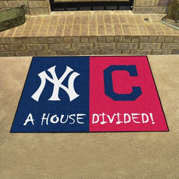 "MLB - Yankees - Indians House Divided Rug 33.75""x42.5"""