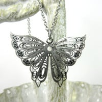 Silver Butterfly Necklace, Vintage Design Butterfly Pendant, Lightweight