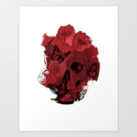 Alluring Death (Red) Art Print by Luis Patino
