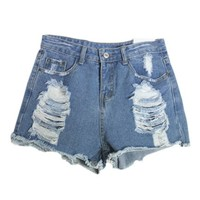 Ripped Denim Shorts with Frayed Cuffs in Dark Blue