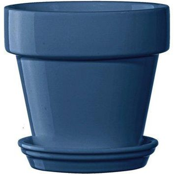 Deroma 5700363BF Ceramic Planter with Saucer, Medium, Teal