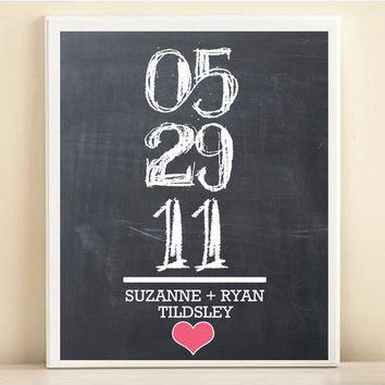Personalized Wedding Date Name Print: Chalkboard Math Problem 8x10 Poster with Heart