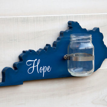 Kentucky or any US state shape wood cutout sign mason jar wall art vase. Faith, Hope, Love or Family.  Wedding Housewarming Gift Decor