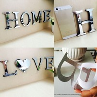 Twolacking 26 Letters Love Confession DIY Furniture Mirror Effect Wall Sticker Decorative Art Home Living Room Decorations