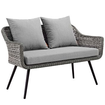 Endeavor Outdoor Patio Wicker Rattan Loveseat Gray Gray EEI-3024-GRY-GRY