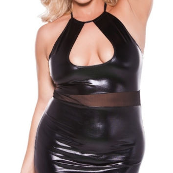 Plus Size Crop Top Dress with Sheer Mesh Waistband