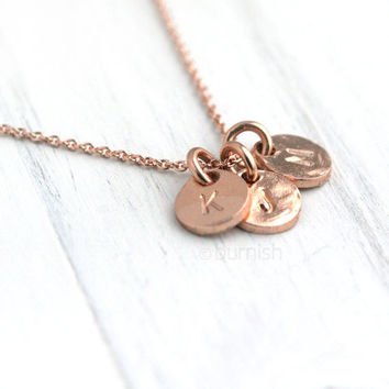 Rose Gold Monogram Necklace / Three Initials Hand Stamped Coin Discs / Rose Gold Personalized Necklace