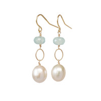 Pearl Dangle Earrings with Aqua Chalcedony Accents