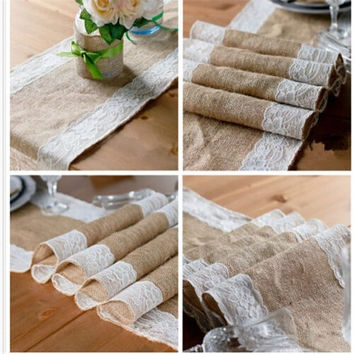 Vintage Burlap Lace Hessian lace table runner Natural Jute Country Party Wedding Decoration 30cm*180cm (Color: Multicolor) = 1932714820