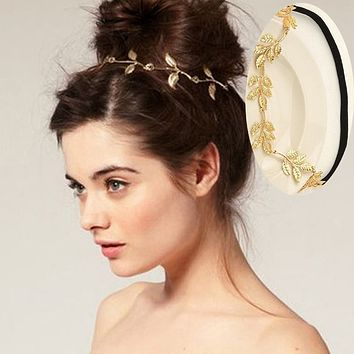 Celebrity Inspired Handmade Boho Greek Gold Leaf Hair Wedding Band