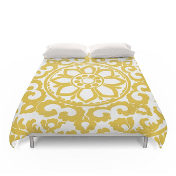 Society6 Mustard Yellow Ornament Duvet Cover
