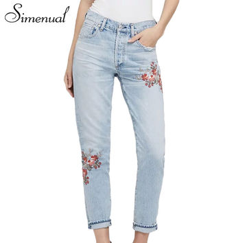 Buttons vintage jeans woman clothing fashion 2017 light blue embroidered flowers jeanswear bottoms