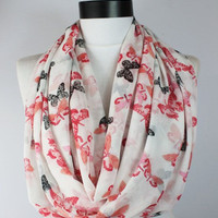 white butterfly scarf,infinity scarf, scarf, scarves, long scarf, loop scarf, gift