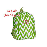 On Sale with Free Shipping 16 Inch Lime Green and White Chevron Print School Backpack Free Monogramming With Purchase