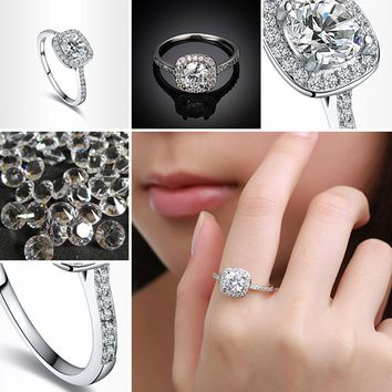 Diamond Ring Hearts and Arrows Zircon Ring