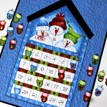 Advent Calendar  Quilted Christmas Panel  Snowmen with Mittens Count Down Children's Holiday Wall Hanging  Holiday Activity Panel Handmade