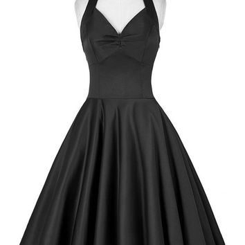 2017 Audrey Hepburn Vestidos Plus Size Women Summer style 50s Vintage Gown Black Retro Casual Party Dresses Robe swing clothing