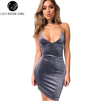 Deep V Neck Strap Gray Velvet Women Dress Lace Up Backless Autumn Sexy Party Dresses Bodycon Pencil Grils Dresses Vestidos