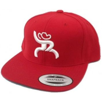 HOOey Cap Rebel Red and White Snapback Roughy Cowboy Cap