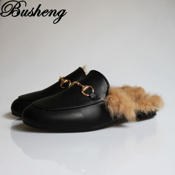 Shoes Women 2016 Fashion Autumn and Winter Shoes Woman Rabbit Fur Leather Slippers Warm Flats Shoes Flip Flop Loafers Busheng026