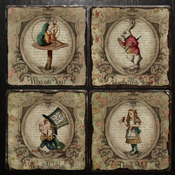 Coaster ALICE in WONDERLAND Alice in Wonderland Decor Mad Hatter Party Tea Birthday Gift Alice in Wonderland Wooden Coaster Shabby Decor