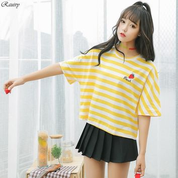 summer 2018 korean style striped shirt ulzzang harajuku retro fashion cute embroidery letter fresh strawberry t-shirt women top