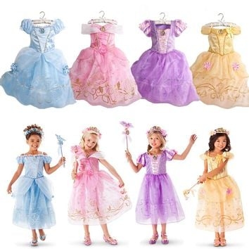 Cinderella Dresses Children Belle Princess Dresses Rapunzel Aurora Kids Party summer Costume Clothes