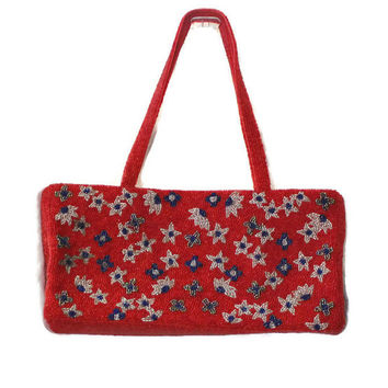 Vintage Red Beaded Handbag, Red Bead Handbag, Flower Handbag, Beaded Evening Bag, Red Beaded Evening Bag, Flower Evening Bag