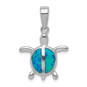925 Sterling Silver Rhodium Created Blue Opal Turtle Shaped Pendant