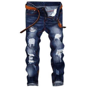 2018HighQuality Mens Ripped Biker Jeans 100% Cotto Slim Fit Motorcycle Jeans Men Vintage Distressed Hole Denim Hip hop JeanLY164