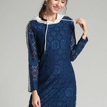 Hoodie Daily Long Sleeve Casual Lace Prom Dresses