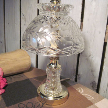 Beautiful Vintage Crystal Table Lamp, Rose Motiff, Cut and Frosted, Refurbished