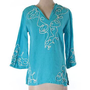 Lilly Pulitzer Blue Tunic Blouse Size XS