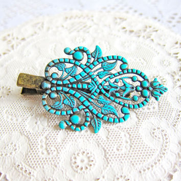 Leaf Hair Clip Hair Pin Turquoise Blue Antique Brass Verdigris Patina Shabby Chic Woodland Rustic Damask Victorian