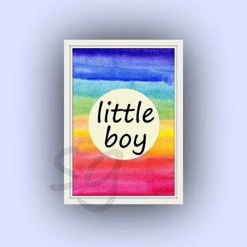 Little boy, rainbow color watercolor, boyss Baby Nursery Printable Wall Art, dorm decor, kids playroom decal, door sign, colorful, square