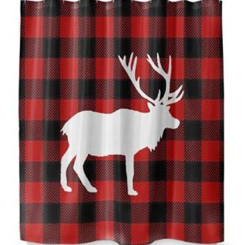 DEER PLAID Shower Curtain By Terri Ellis