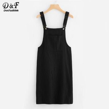 Pocket Front Ribbed Pinafore Dress Black Spaghetti Strap Button Dress