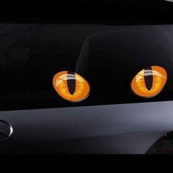 CREYUG3 Cute Pretty Cat Eyes Vinyl Car Sticker Decal For Car Window Truck Bumper Laptop Locker Glass (Size: L, Color: Multicolor)